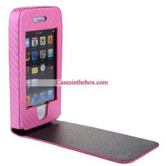 Pink Flip Carbon Fiber Leather Case for iPhone 4/iPhone 4S