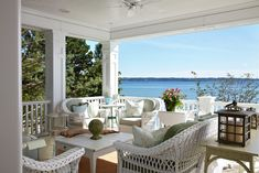 Summer Porch Filled with Wicker in Harbor Springs, MI.