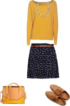 """""""Fall outfit - Yellow Sweater"""" by stylelover10 on Polyvore"""