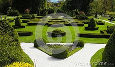 A park in Slovenia. The bushes in the garden are symmetric.