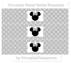 Free Silver Dotted Pattern Minnie Mouse Water Bottle Wrappers