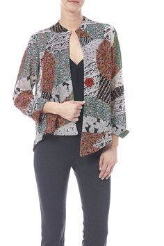 Multicolored jacket with an asymmetric hemline and single button closure.    Multicolored Jacket by Joseph Ribkoff. Clothing - Jackets, Coats & Blazers - Jackets Michigan
