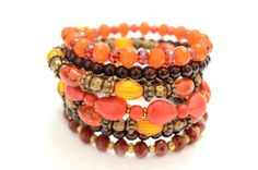 Beautiful Boho Style Memory Wire Bracelet Red by OxyFineCrafts