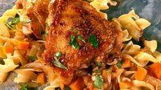Braised Chicken Thighs with Caramelized Onions and Egg Noodles Recipe | The Chew - ABC.com
