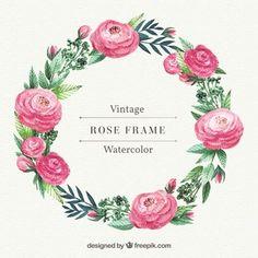 Couronne de roses et feuilles d'aquarelle