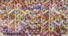 Sample knit on DK weight yarn, US size 6 addi needles    Multiple of 8 + 1   Rows 1 and 3 (WS): k2 *p5, k3; end p5, k2  Row 2: k2 *sl 5 w...