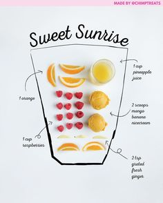 You are 5 ingredients, 1 blender, and 5 minutes away from a naturally sweet and healthy Sweet Sunrise smoothie! ☀️🍊 Satisfying, delicious, and packed with vitamins and nutrients 👊⠀ Easy Smoothie Recipes, Easy Smoothies, Breakfast Smoothies, Shake Recipes, Fruit Smoothies, Juice Smoothie, Smoothie Drinks, Smoothie Bowl, Yummy Drinks