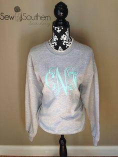 Jumbo Monogrammed Sweatshirt by SewSouthernStitchery on Etsy