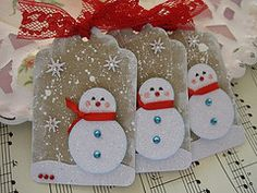 Snowmen Tags - would be a nice card layer