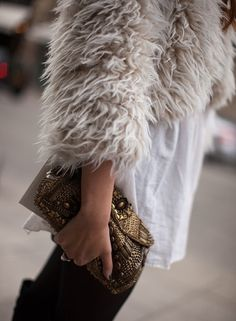 long white tee and fuzzy cropped jacket