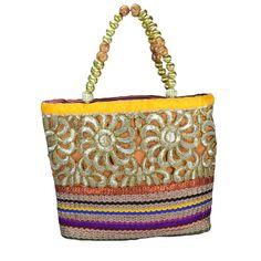 Beautiful Golden Multicolor Jute Cotton Design Party Womens Hand Made Purse Bag  #Arishakreationco #HandBag