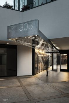 Exterior Canopy Design / Patrick Tighe Jazzes Up Two Generic Office Buildings With Sleek Lobbies Signage Design, Facade Design, Exterior Design, Office Entrance, Entrance Design, Salon Interior Design, Interior Design Photos, Detail Architecture, Interior Architecture
