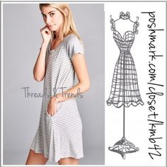 Grey V Neck Tee Dress Super casual weekend wear Grey and white V neck dress. Featuring 2 front hidden pocket. Perfect easy wear dress. Size S, M, L made of a cotton spandex blend. Threads & Trends Dresses