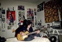 Guitarist Joan Jett of the rock band 'The Runaways' poses for a portrait in her bedroom at her family's home in Canoga Park just outside Los Angeles...
