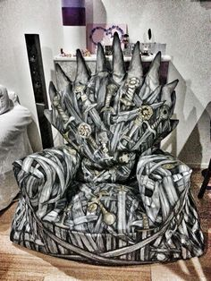 DIY Game Of Thrones Iron Throne Beanbag Chair For all the fans :))