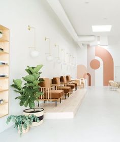 This 'Grammable Nail Salon Is Fueling Our Winter Beauty PaletteYou can find Salon interior and more on our website.This 'Grammable Nail Salon Is Fueling Our Winter B. Nail Salon Design, Nail Salon Decor, Hair Salon Interior, Beauty Salon Decor, Salon Interior Design, Beauty Salon Design, Modern Interior, Posh Nail Salon, Modern Nail Salon