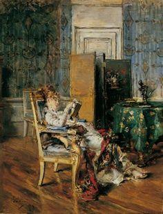 Giovanni Boldini (1842-1931), Signora che legge, 1875 #armchair #reading #woman #interior #boldini