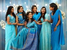 images of bridesmaids' outfits | blue bridesmaid outfits although the outfits are different they blend ...