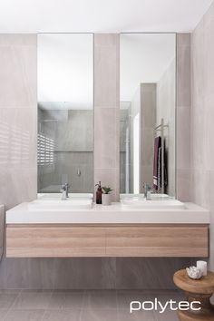 Bathroom vanity in RAVINE Natural Oak.