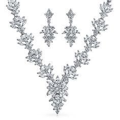 Purchase Bridal Large Marquise AAA CZ Cubic Zirconia Statement Necklace Earring Set For Women For Wedding Silver Plated from Bling Jewelry Inc on OpenSky. Share and compare all Jewelry. Bridal Jewelry Sets, Bridal Necklace, Bridal Sets, Wedding Jewelry, Bridal Jewellery, Leaf Jewelry, Bling Jewelry, Flower Jewelry, Statement Jewelry