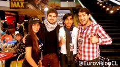 El team  EurovisionCL junto al invitado especial Arturo Domínguez en el Eurovision live in Stgo 2015, desde Cineplanet. #ESCSTGO2015