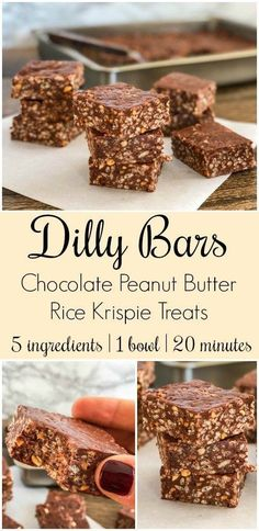 Bars - Chocolate Peanut Butter Rice Krispie treats are a flavor combinati Dilly Bars -- Chocolate Peanut Butter Rice Krispie treats are a flavor combinati. -Dilly Bars -- Chocolate Peanut Butter Rice Krispie treats are a flavor combinati. Köstliche Desserts, Delicious Desserts, Yummy Food, Health Desserts, Tasty, Pavlova, Baking Recipes, Cookie Recipes, Rice Recipes