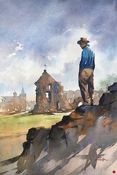 Colin at St. Andrew's by Thomas W. Schaller Watercolor ~ 22 x 15 inches