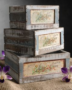 Set of Three Wood French Flower Market Crates $17    upstairs centerpieces?? babies breath in here?