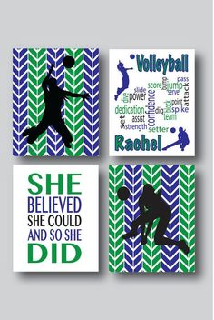 Set Of 4 Prints, Volleyball Decor, Volleyball Art, Volleyball Coach Gift,  Volleyball Team, Volleyball Print, Volleyball Gifts, Choose Colors