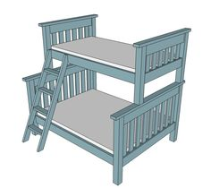 Twin over Full Simple Bunk Bed Plans cuz you never know when you may need a couple more places to sleep everyone :)
