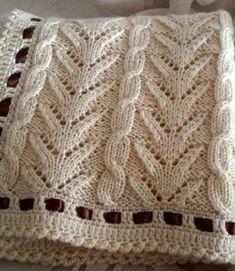 Very pretty knit blanket - Free Tutorials (Beautiful Skills - Crochet Knitting Quilting) - Strickmuster - Knitting Stiches, Knitting Charts, Lace Knitting, Crochet Stitches, Knitting Machine, Stitch Patterns, Knitting Patterns, Crochet Patterns, Knitting Designs