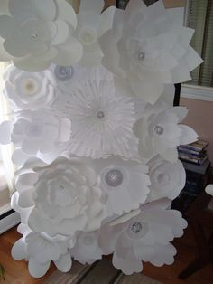 DIY Paper Flower Backdrop White by DreamEventsinPaper on Etsy #Paperflowers #PaperFlowerBackdrop #paperflowerwall