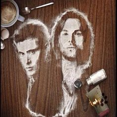 SPN Salt fan art. This is the image that was on the bags sold at Comic-Con this year (2014) that Jensen talked about at NerdHQ