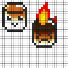 Roasted Marshmallows Perler Bead Pattern - Perler / Hama / Melty / Fuse