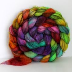 COLOR WHEEL  Mixed BFL Hand Painted Roving  4ozs by SpunRightRound, $16.00