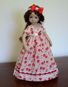 """SOLD """"Red Roses"""" Regency Dress, Outfit, Clothes for 13"""" Dianna Effner Little Darling…"""
