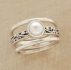 scrolled pearl ring trio from sundancecatalog.com