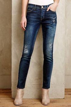 Current/Elliott Ankle Skinny Jeans Old Blue Repair Denim #anthrofave #anthropologie