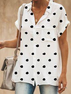2019 New Arrival Blouse Tops Women Work Office Dot Print Casual Summer Short Sleeve Shirt Blouses femmes mode Blusas Cheap Blouses, Shirt Blouses, Blouses For Women, Polka Dot Blouse, Polka Dots, Blouse Online, Blouse Styles, Printed Blouse, Short