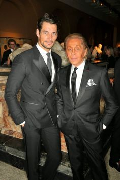 'The Glamour Of Italian Fashion' Exhibition (1945 - 2014) ~ David James Gandy and Valentino attend a private dinner celebrating the Victoria and Albert Museum's new exhibition
