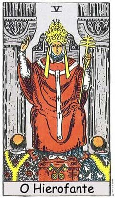 The Hierophant Major Arcana Tarot card. The Tarot Hierophant card meaning in a nutshell: The dependency on approval from an elevated dignity. (Such as the pope) Major Arcana Cards, Tarot Major Arcana, Taro Gratis, Tarot Astrologico, Charles Fourier, Tarot Rider Waite, Tarot Waite, Tarot Significado, Tarot Decks