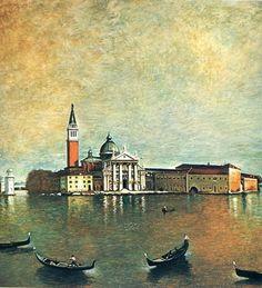 Giorgio de Chirico, Island San Giorgio, Oil on canvas, 119 x 116 cm. Magritte, Italian Painters, Italian Artist, Mondrian, Norman Rockwell, Saint Georges, Art Ancien, Oil Canvas, List Of Artists