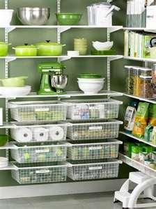 green organized pantry