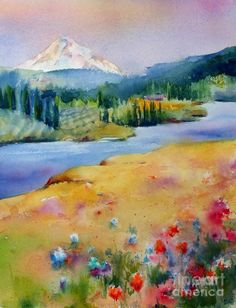 View from Catherine Creek by Jacqueline Newbold ~ watercolor landscape mountains