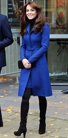 Kate Middleton in a royal blue Christopher Kane coat (and just generally looking perfect)