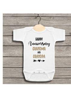 Happy Anniversary Grandma and Grandpa Baby Bodysuit, Personalized Anniversary Baby Grandma And Grandpa, Mom And Dad, White Bodysuit, Baby Bodysuit, Happy Anniversary Mom Dad, Baby Month By Month, Black And Grey, Size Chart
