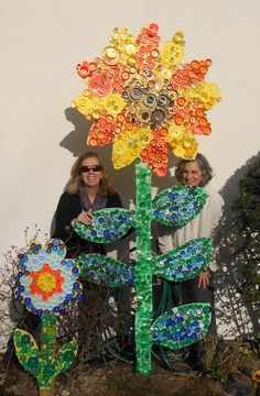 Flower cut out bottle cap art