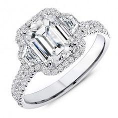 2.60 Carat Designer Emerald Cut Engagement Ring