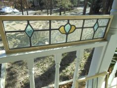 J338A Unique Transom Style of A English Leaded Stained Glass Window Reframed | eBay