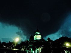 Sunday, May 10, 2015 (Mother's Day).  EF-1 tornado approaching Downtown Denton, as seen with the Denton County Courthouse on the Square, in front of the storm.  Thankfully, minor damage was done in Denton.